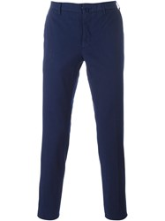 Incotex Pleated Skinny Chinos Blue