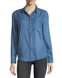 Velvet Heart Embroidered Long Sleeve Denim Shirt Grecian Blue