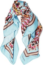 Roberto Cavalli Day Dream Printed Silk Scarf Sky Blue