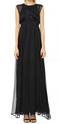 Leon Max Silk Chiffon Long Dress With Harness