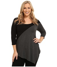 Karen Kane Plus Plus Size Three Quarter Sleeve Color Block Tee Black Heather Gray Women's T Shirt Multi