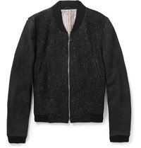 Thom Browne Full Grain Nubuck And Donegal Wool Bomber Jacket