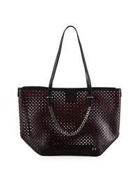 Halston Heritage Perforated Leather Tote Bag Black