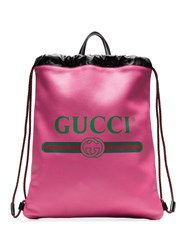 Gucci Pink Logo Print Leather Backpack Pink And Purple