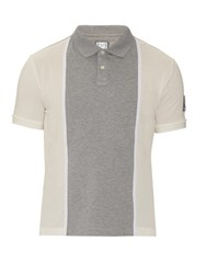 Moncler Gamme Bleu Contrast Panel Cotton Pique Polo Shirt Grey Multi