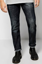 Boohoo Slim Fit Jeans With Sand Blasting Dark Blue