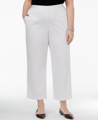 Alfred Dunner Plus Size Bahama Bay Collection Pull On Straight Leg Pants White