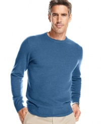 Club Room Big And Tall Cashmere Crew Neck Sweater Delft Blue Heather