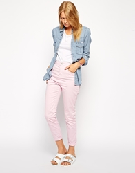 Asos Washed High Waisted Skinny Twill Trousers Pink