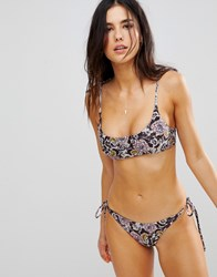 Beach Riot Bech Black Floral Bikini Bottom With Ties Multi