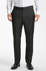 Men's Z Zegna Flat Front Trousers Dark Grey