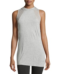 Ella Moss Perforated Sleeveless Tee Heather Gray
