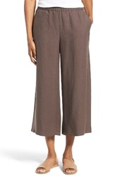 Eileen Fisher Women's Tencel And Linen Crop Wide Leg Pants Cobblestone