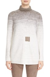 Lafayette 148 New York Women's Ombre Stitch V Neck Cardigan Cloud Multi