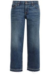 Simon Miller Woman Cropped Frayed Mid Rise Straight Leg Jeans Mid Denim