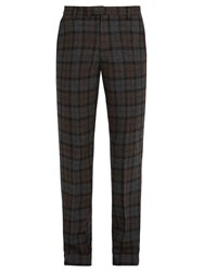 Saturdays Surf Nyc Panos Slim Leg Checked Wool Blend Trousers Grey
