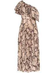 Solace London Rosa Snakeskin Effect Maxi Dress Brown
