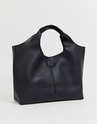 Melie Bianco Faux Leather Slouch Tote Bag Black