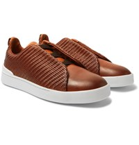 Ermenegildo Zegna Triple Stitch Pelle Tessuta Leather Slip On Sneakers Brown