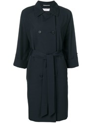 Peserico Double Breasted Trench Coat Blue