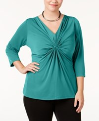 Ny Collection Plus Size Criss Cross Top Royal Aqua