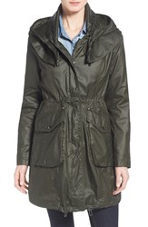 Women's Laundry By Shelli Segal Hooded Waxed Cotton Utility Coat Army