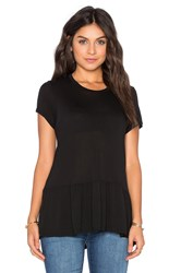 Michael Lauren Hart Short Sleeve Ruffle Tee Black