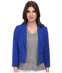 Adrianna Papell Cropped Jacket W Back Crossover Cobalt Women's Jacket Blue