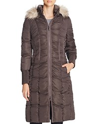 T Tahari Elizabeth Faux Fur Trim Long Puffer Coat Legend Grey