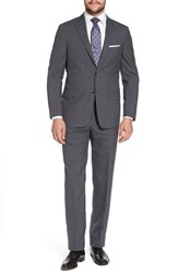 Hickey Freeman Beacon Classic Fit Check Wool Suit Charcoal