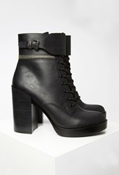 Forever 21 Faux Leather Lace Up Booties Black