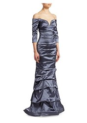 Rene Ruiz Off The Shoulder Mermaid Gown Blue
