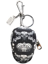 Dolce And Gabbana Bee And Crown Print Zip Pouch Keyring Black
