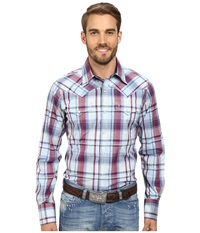Stetson Liberty Dobby Plaid Blue Men's Long Sleeve Button Up