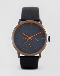 Ted Baker James Chronograph Leather Watch In Grey Grey