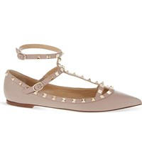 Valentino Rockstud Leather Pointed Toe Flats Nude