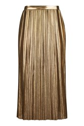 Topshop Tall Metallic Jersey Pleat Skirt Gold