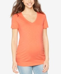 A Pea In The Pod Maternity Ruched V Neck Tee Grenadine