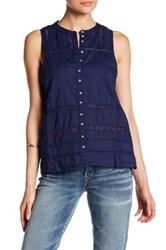 Silver Jeans Co. Lace Sleeveless Tank Blue