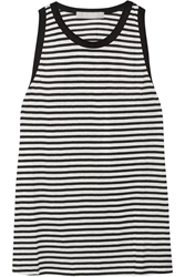Kain Label Carson Striped Stretch Cotton And Modal Blend Tank Black