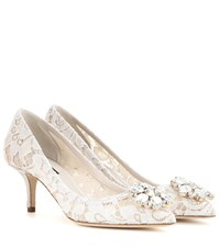 Dolce And Gabbana Bellucci Embellished Lace Pumps White