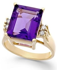 Macy's Amethyst 6 Ct. T.W. And Diamond 1 8 Ct. T.W. Ring In 14K Gold