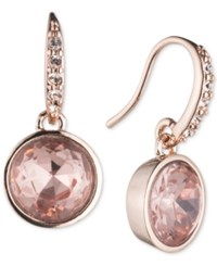 Lonna And Lilly Rose Gold Tone Pink Stone Drop Earrings