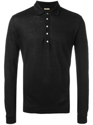 Massimo Alba Long Sleeved Polo Shirt Black