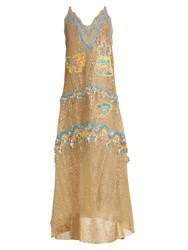 Peter Pilotto Palm Tree Embroidered Guipure Lace Gown Gold