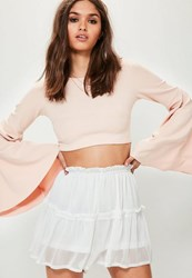 Missguided White Crinkle Chiffon Floaty Frill Shorts