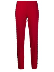 P.A.R.O.S.H. Stud Embellished Skinny Trousers Red