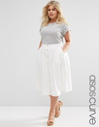 Asos Curve Denim Midi High Waist Skirt With Button Down Front White
