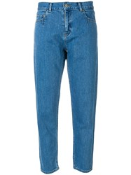 Julien David Cropped Tapered Jeans Blue