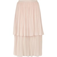 River Island Womens Light Pink Layered Pleated Midi Skirt